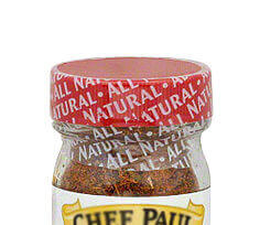 One of our Tamper Evident Shrink Sleeves on cap of spice bottle. Use tamper proof Labels And Seals to ensure Product Integrity.